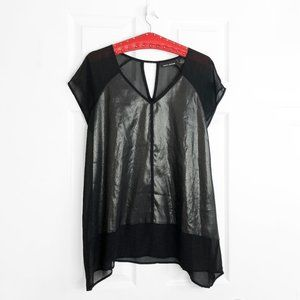 DKNY Oversized Sheer Tunic Blouse